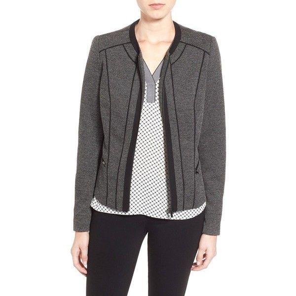 Dex Jacquard Knit Front Zip Jacket ($88) ❤ liked on Polyvore featuring outerwear, jackets, lined jacket, shiny jacket, dex, zip jacket and zipper jacket