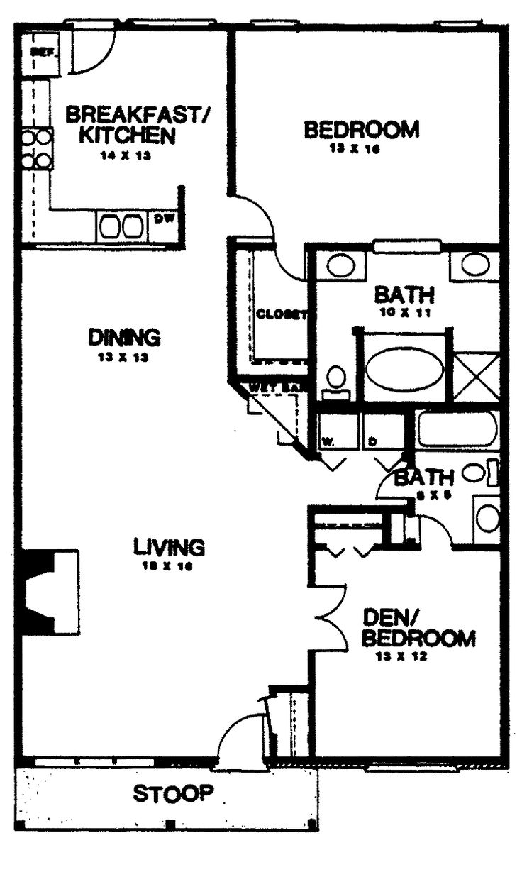 Two bedroom house plans home plans homepw03155 1 350 for Floor plans for a 4 bedroom 2 bath house