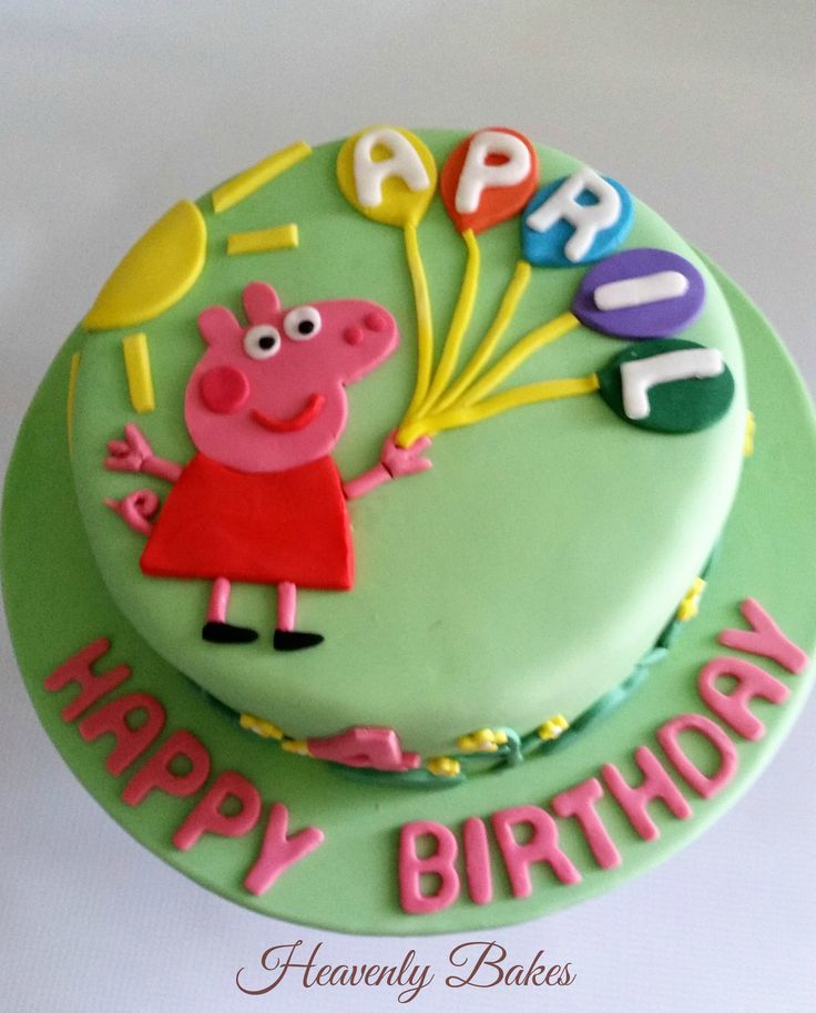 Peppa Pig Birthday Cake with a bunch of balloons, the sun and surrounded by flowers and bushes. facebook://heavenlybakesaltona