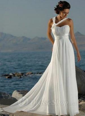 Robe de Mariage Plage en Mousseline polyester  avec Fleurs prom dresses 2013 Evening Dresses Cocktail Dresses Wedding Dresses