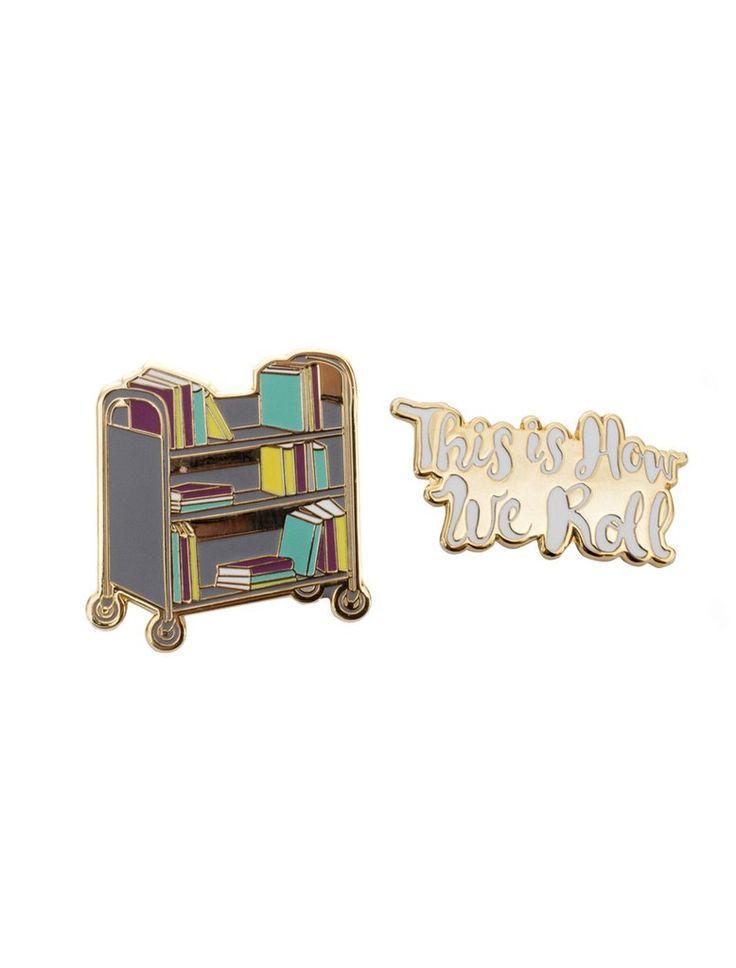 Book Truck Enamel Pin Set