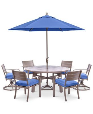 "Rocker 34""h. NEW! Ocean port Outdoor Aluminum 7-Pc. Dining Set (60"" Round Dining Table, 4 Dining Chairs"