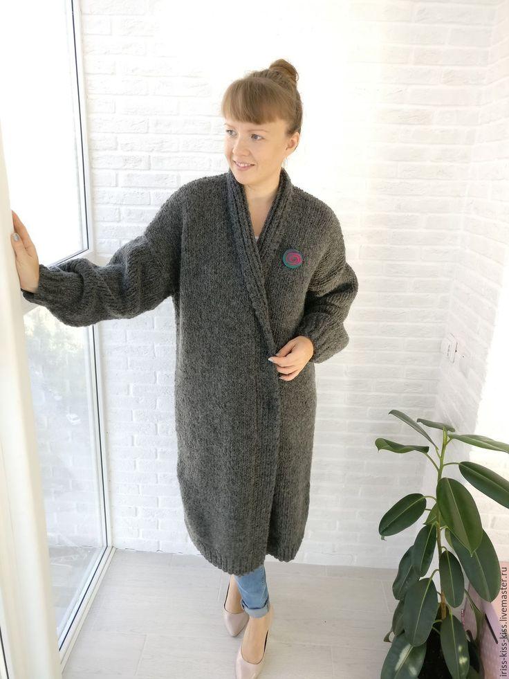 Купить Пальто Тепло 3 - темно-серый, теплое пальто, вязаное пальто, пальто вязаное