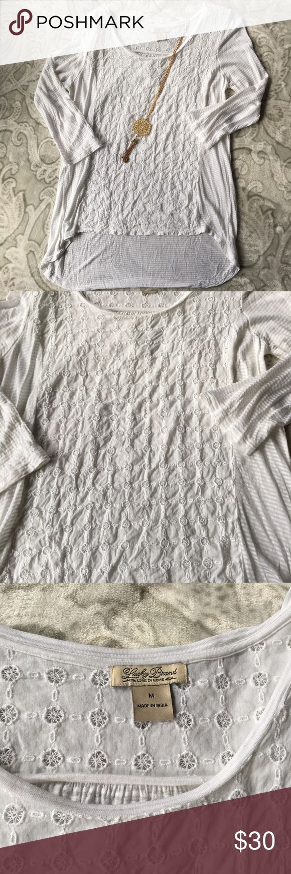 FINAL PRICE DROP!! Nice lucky Brand top. ❤️ Lucky 🍀Brand top. White with lace. No holes or stains. Lucky Brand Tops