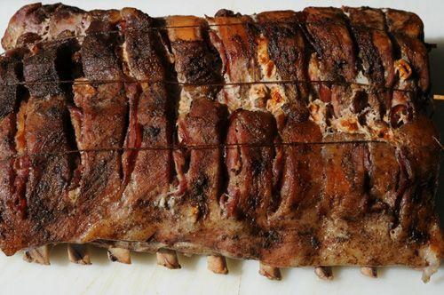 Рецепт приготовления запеченной свиной корейки с беконом.  Ингредиенты   4 кг корейка свиная 300 г бекон сырокопченый 3 ч. ложки перец черный молотый 2 ч. ложки кориандр 1 ч. ложка перец красный …