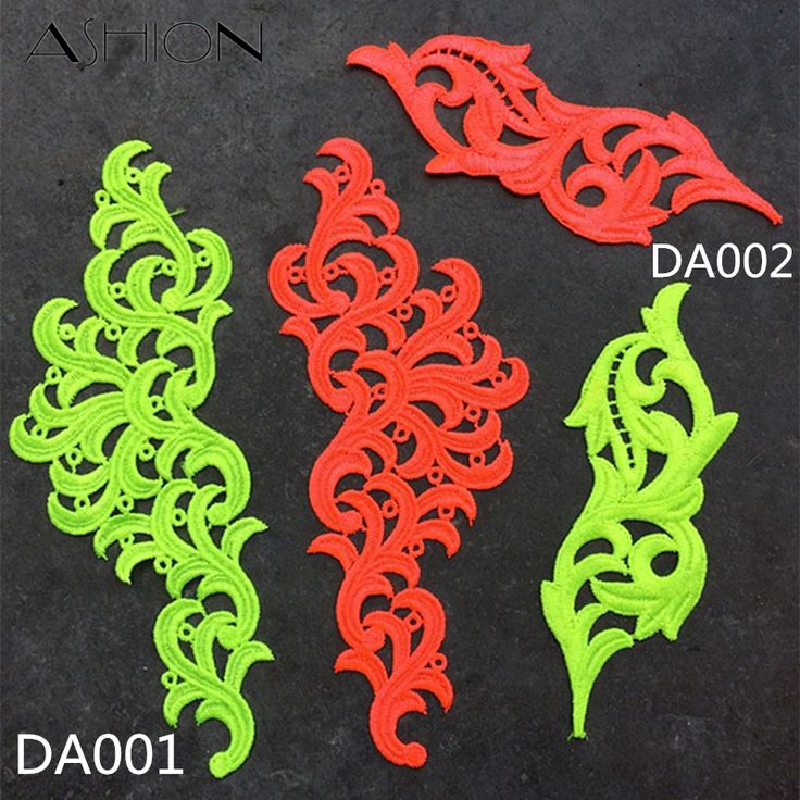2 pairs Venise fluorescent yellow orange Flower Lace Trim Tango dance ballet costumes Dress Decor Sewing Applique Crafts DA001-in Lace from Home & Garden on Aliexpress.com | Alibaba Group