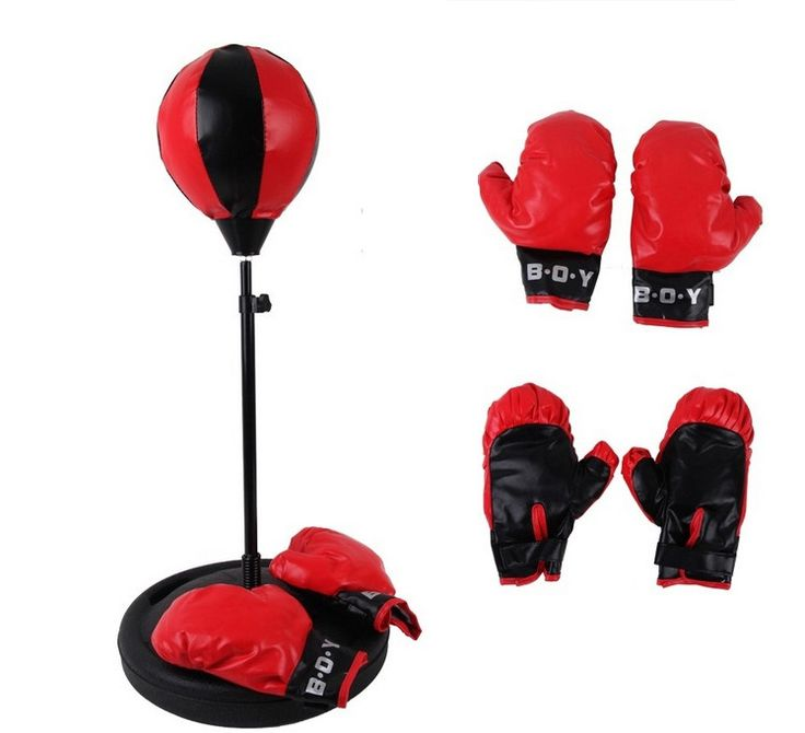 Height Adjustable Sport Boxing Punching Bag with Gloves Punching Ball for Kids (75-105cm) - Red + Black