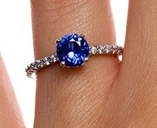 Sapphire Petite Shared Prong Diamond Ring