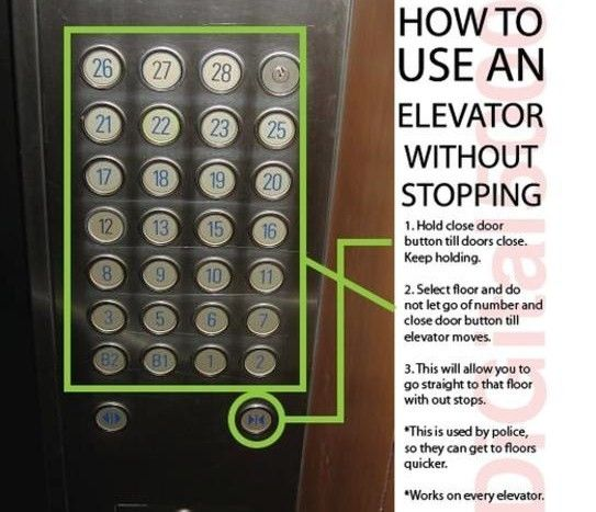 how to make an elevator an express.... this is a great idea, but I would only use it when it was a real emergency, which is why I put it in my business file.... because it means business.