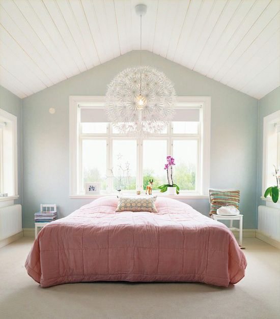 Vaulted ceiling in bedroom | At Home in Love