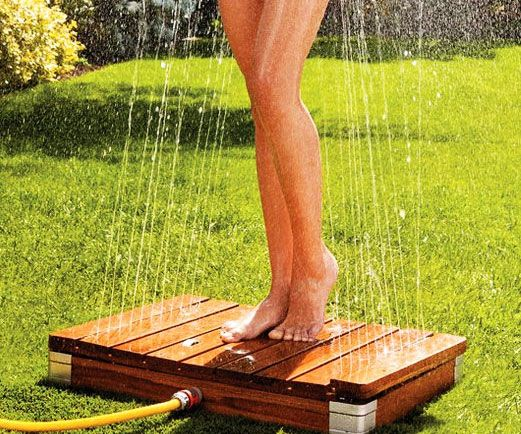 Set up an impromptu shower anywhere there's a hose using the inverted outdoor shower. Upon being connected, you simply need to step over the non-slip wooden platform to allow the 22 jet sprays to blast streams of water up to 6 feet in the air.