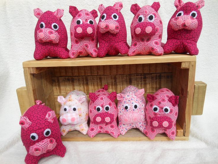 Pigs made in African print fabrics.