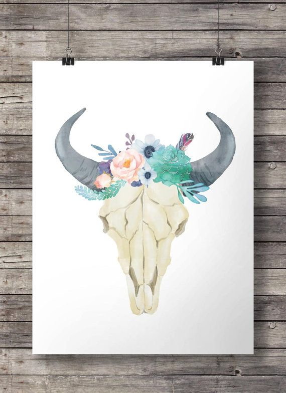 Watercolor succulents and flowers Stay Wild Bull by SouthPacific