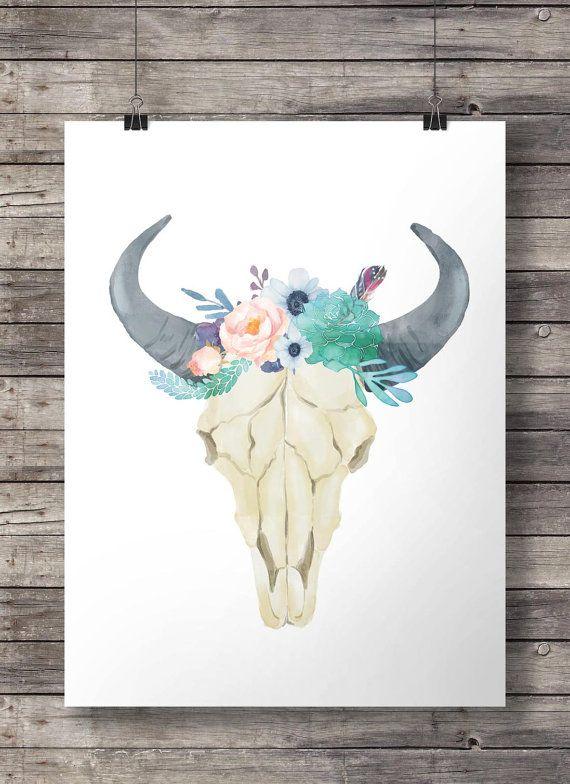Aquarelle fleurs et plantes succulentes taureau vache crâne - art pariétal de crâne aquarelle sud-ouest imprimable - le téléchargement immédiat