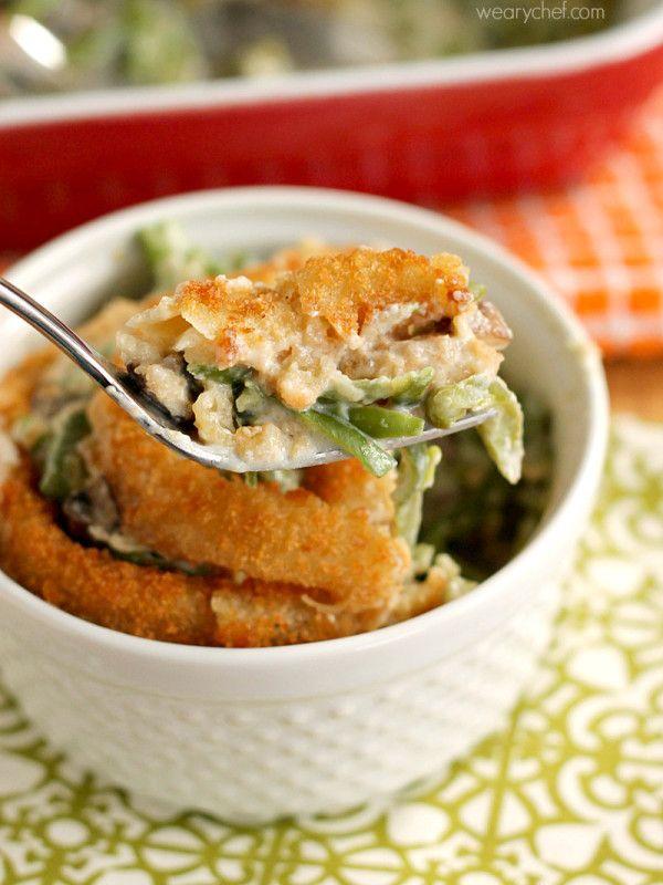green bean casserole with onion rings creamy mushroom sauce creamy ...