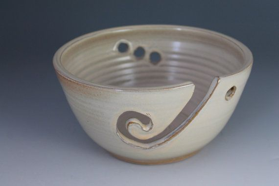 Pottery Knitting bowl  arn bowl  Creamy yellow by NewDayPottery