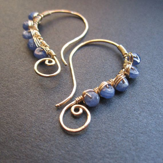 all in one purple blue tanzanite wire wrapped earrings