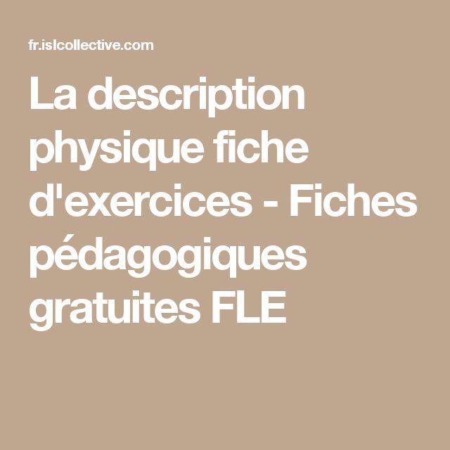 La description physique fiche d'exercices - Fiches pédagogiques gratuites FLE