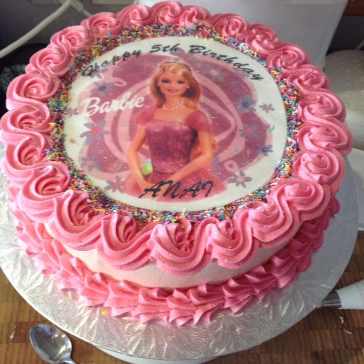Barbie Themed Edible Image cake decorated by Coast Cakes Ltd