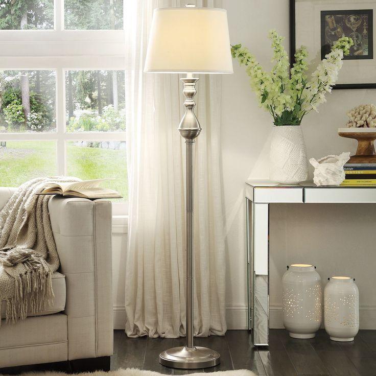 INSPIRE Q Sedgwick 3-way Satin Nickel Contoured Base 1-light Accent Floor  Lamp