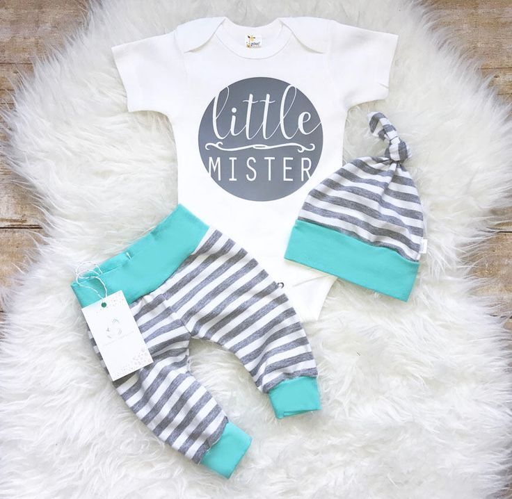 Coming Home Baby Boy Outfit Newborn Boy Clothes Aqua Grey Stripes Baby Boy Leggings Top knot Hat Baby Shower Gift by LLPreciousCreations on Etsy https://www.etsy.com/listing/541698817/coming-home-baby-boy-outfit-newborn-boy