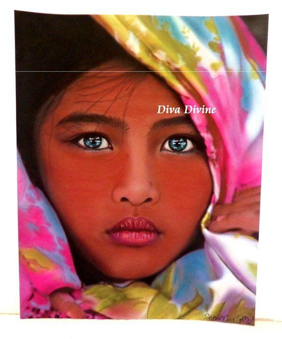 peinture pastel sec pour tableau boh me ethnique indien portrait shanti peint a la main. Black Bedroom Furniture Sets. Home Design Ideas