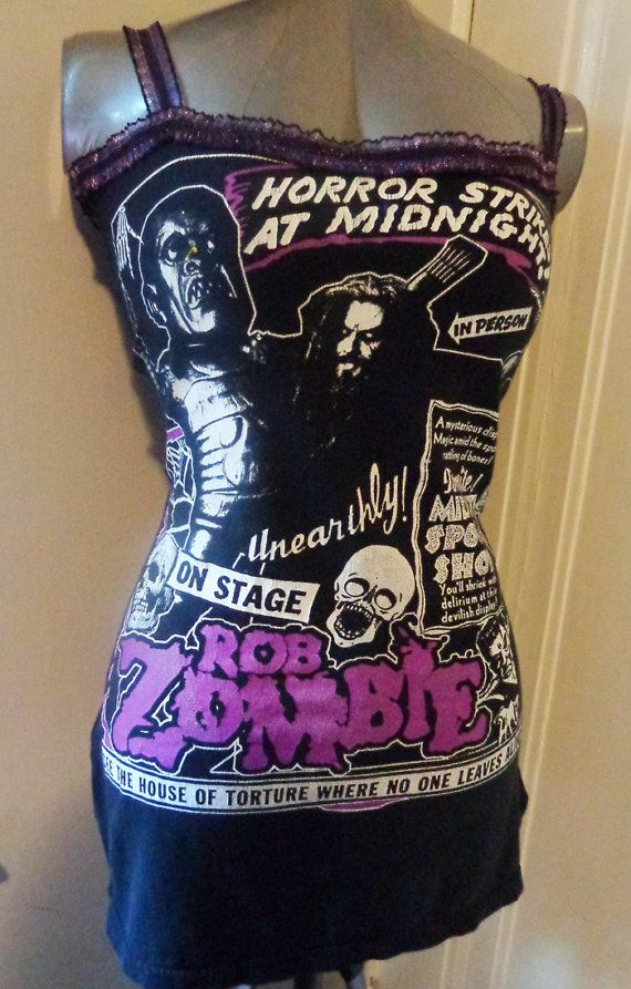 Ladies Rob Zombie tank top / Mini Dress handmade just for you! Sexy form fitting and flattering! Great DIY handmade band shirt. Come check us out!