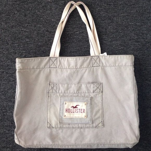 Hollister tote bag Light grey used canvas Hollister tote bag. Good shape. Hollister Bags Totes