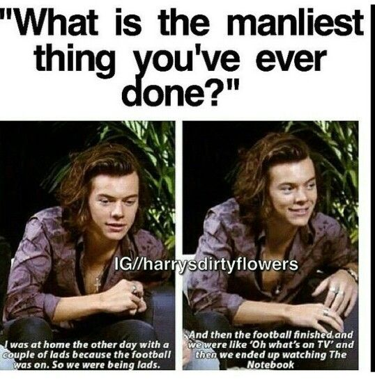 only harry would say something like that...he can pull it off though, many people would look dumb when saying something like that, but harry? nah. he's perfect <3