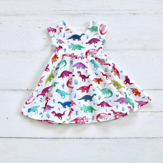 Summer Toddler Infant Baby Girls Dress Cute Dinosaur Print Cotton Strap Dresses