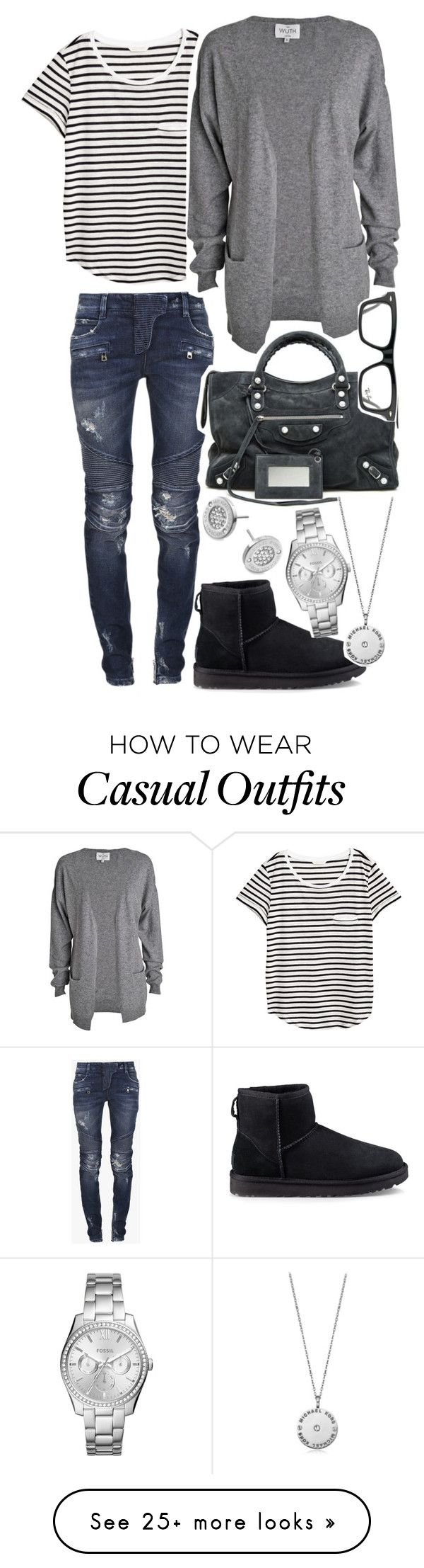 """oootd / office outfit of the day / casual"" by lajuliaw on Polyvore featuring Balmain, H&M, UGG, Balenciaga, FOSSIL, Michael Kors and Ray-Ban"