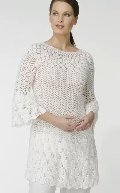 Нежность белого цвета. Пуловер и ажурная туника спицами (1) (400x642, 114Kb)