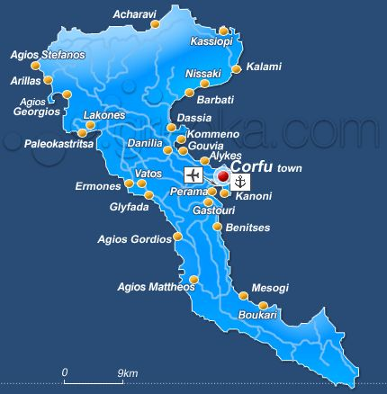 Island of Corfu. Gouvia, my Dad's village (horio)