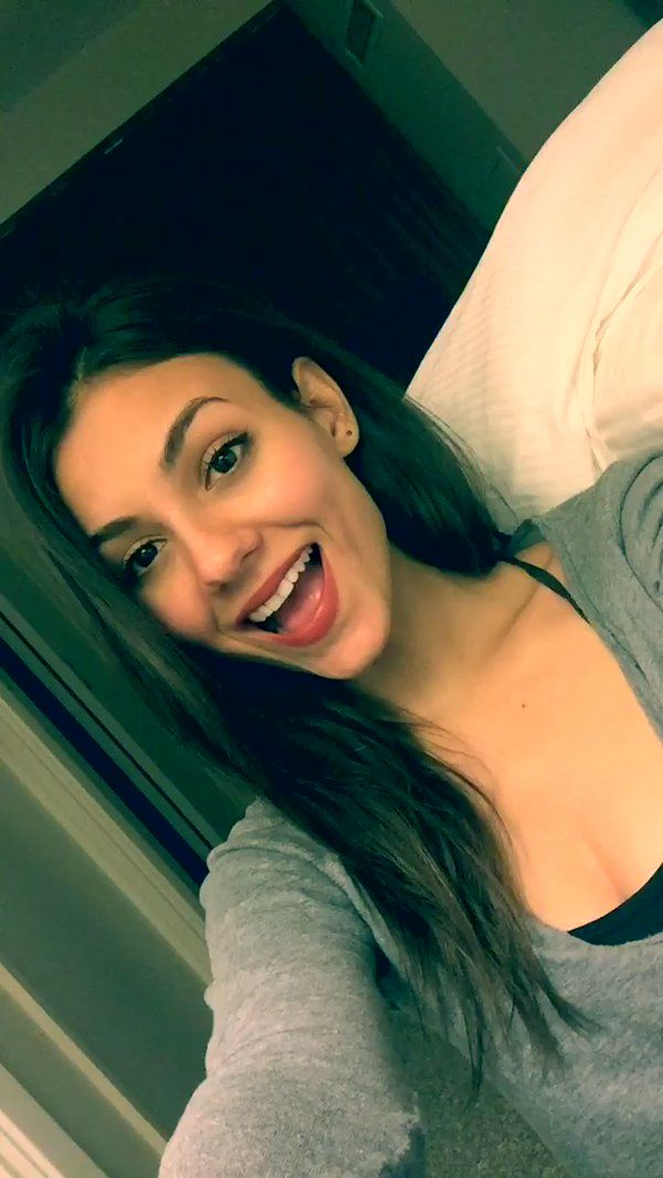 Snapchat - Victoria Justice @VictoriaJustice 2 hours ago    Night everyone, have to be up early. Thanks again for an amazing b day weekend! xox  _________________________ Victoria Justice @VictoriaJustice  2 hours ago    Hey guys, I'm so tired...I know that Domi, Ana & Lily put the video together and it was amazing You are all AMAZING!!!!