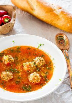 The best of Romanian cuisine,  meatball sour soup (Ciorba cu Perisoare)