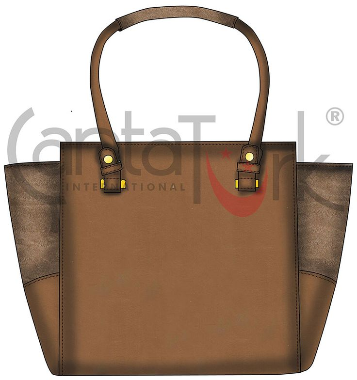 Brown Tote Bag with metalic pu details