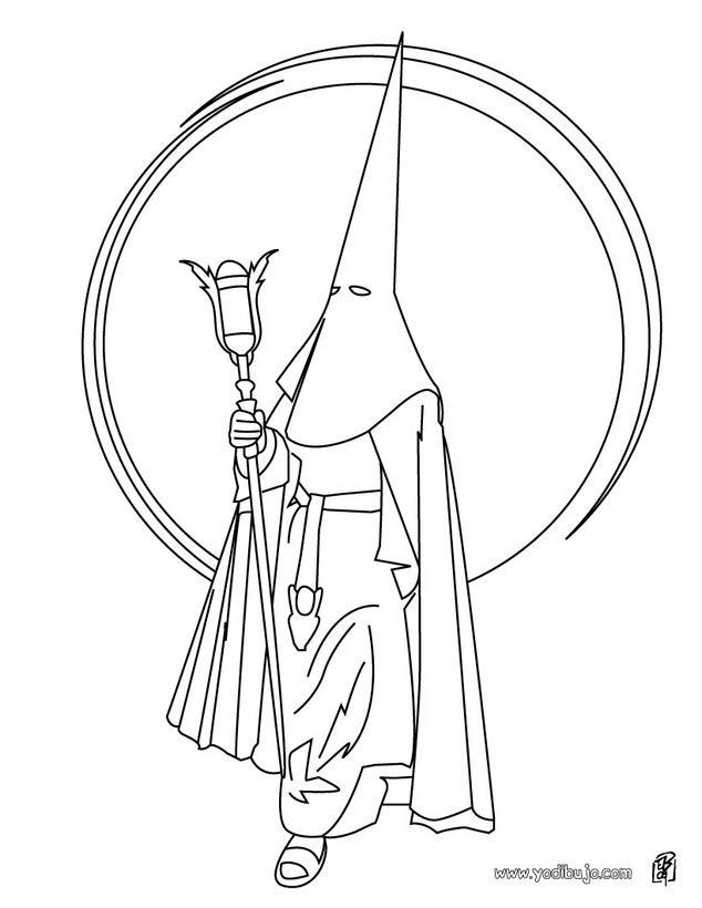 dibujo para colorear   capirote de nazareno