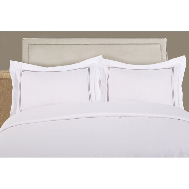 Lux Hotel Baratta Stitch on White Tailored Microfiber Sham - Set of 2 - FRE27502SILV07