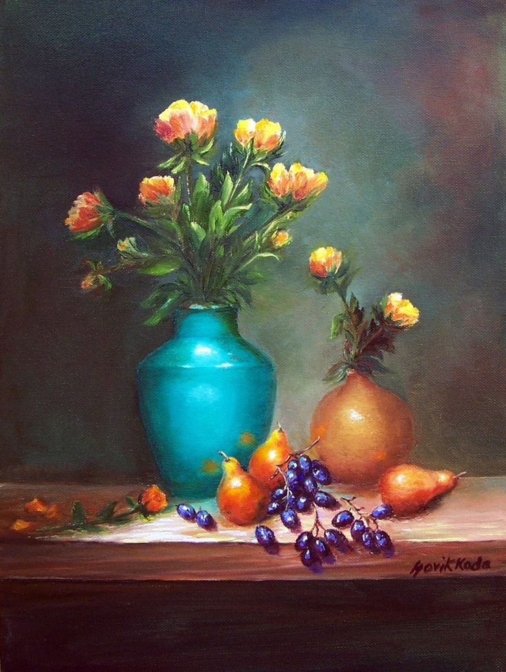 Turquoise Vase and Grapes