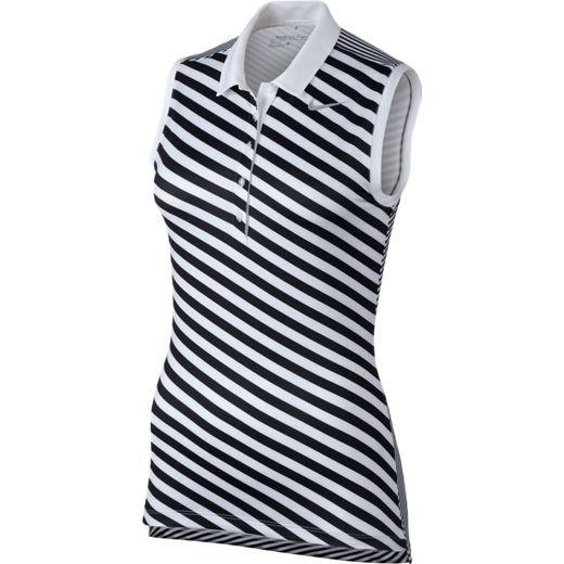 White/Black Nike Ladies Precision Print Sleeveless Golf Polo Shirt. More stylish outfits at #lorisgolfshoppe