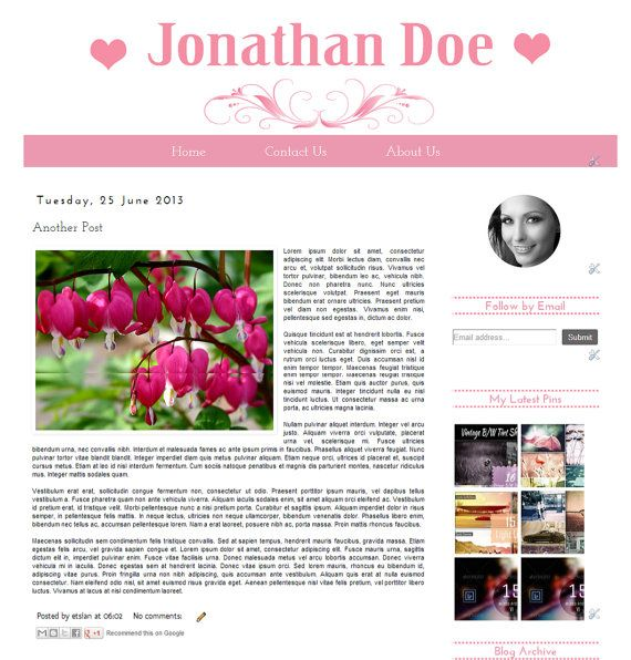 The Pink Blog  Premade Blogger Template   Instant by Symufathemes, $25.00