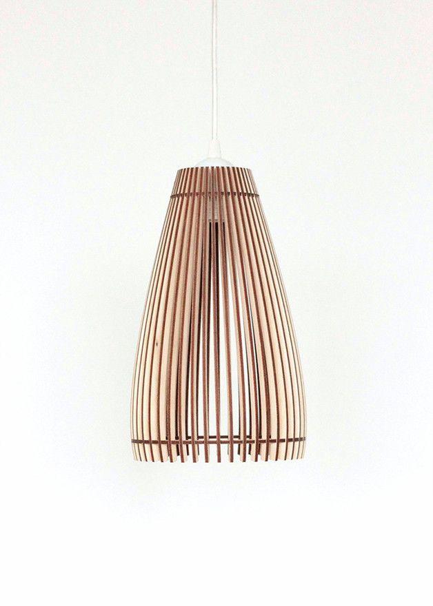 Hängelampen - 30cm Holz Lampe, Pendelleuchte , Holz Hängelampe - ein Designerstück von KWUD bei DaWanda