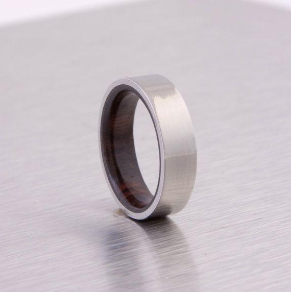 titanium wood ring flat band wedding ring cocobolo wood ring $225.96