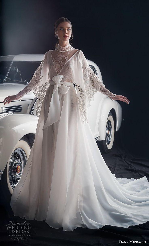 dany mizrachi fall 2018 bridal long sleeves high neck heavily embellished bodice…