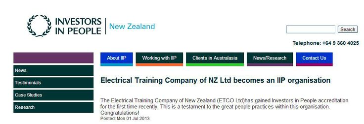 Electrical Training Company of New Zealand becomes an IIP organisation