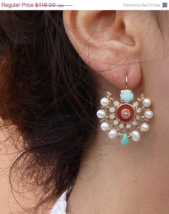 ON SALE MAHARAJA Earrings chandelier earrings coral by inbalmishan, $87.00