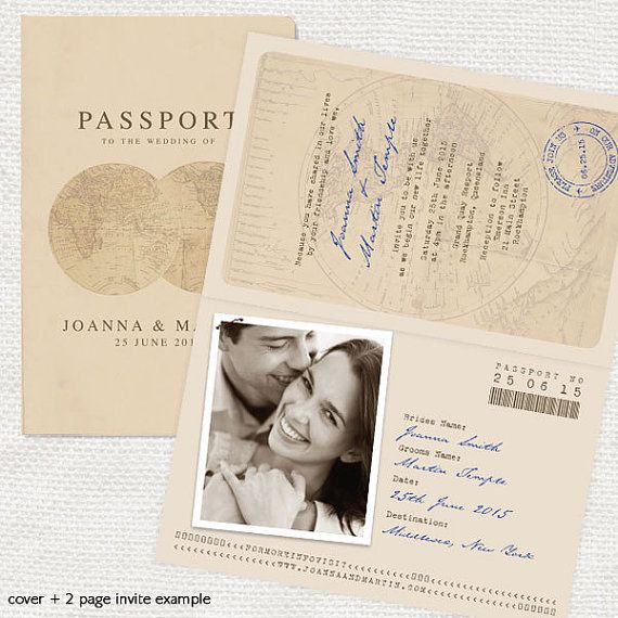 antique chic travel passport wedding invitation par idoityourself
