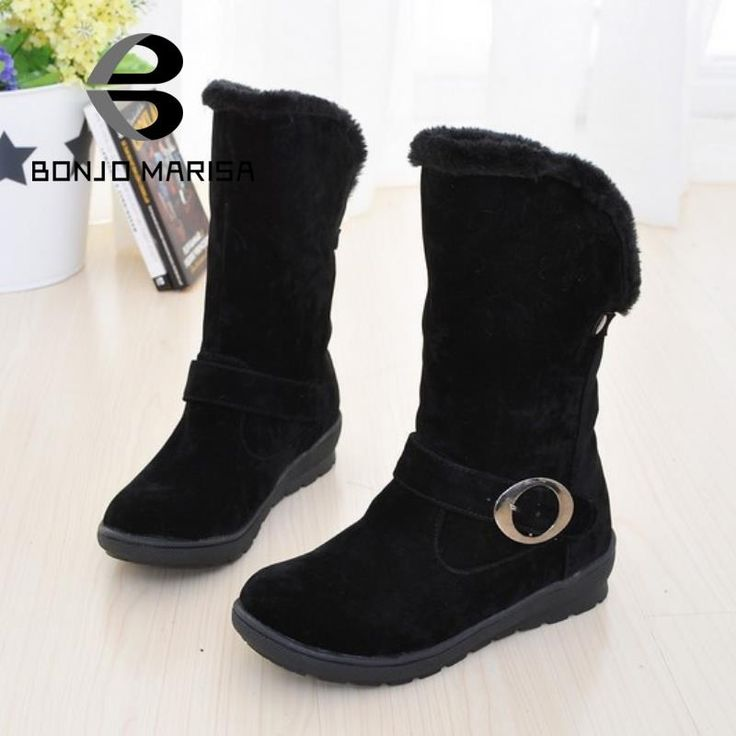 Snow Boots 2016 Keep Fashion Warm Fur Winter Necessary Snow Boots Mid-calf Boots For Ladies Women Slip On Shoes alishoppbrasil