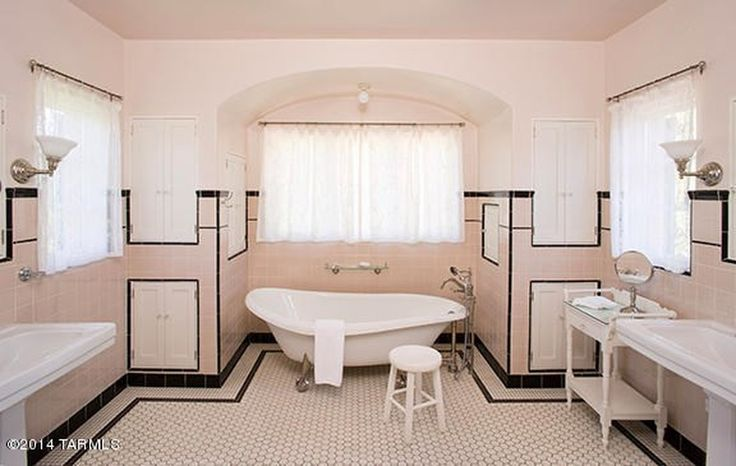 Love this bathroom! And, apparently it is was remodeled to look vintage to match the house. Awesome! Linda Ronstadt's Pink Mediterranean style house Tucscon AZ