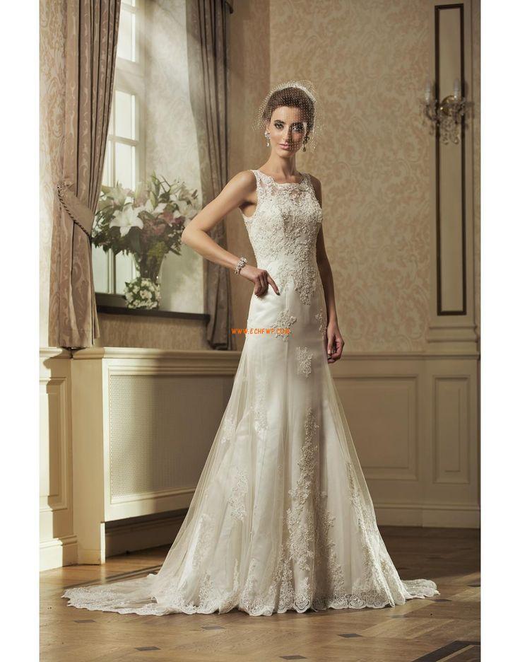 Áčkový střih Délka dvorní Okouzlijící & dramatický Svatební šaty 2014